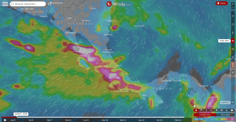 Depresión tropical sobre Costa Rica