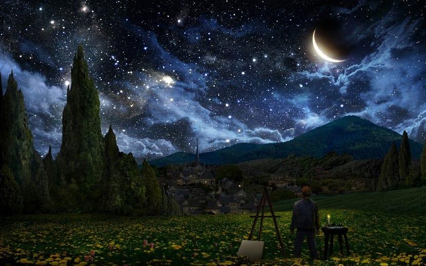 cielos despejados en la noche