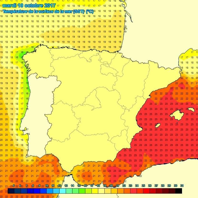 Temperatura actual del este del océano Atlántico