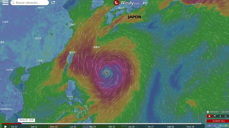 Tifón Lan el viernes 20 de octubre del 2017