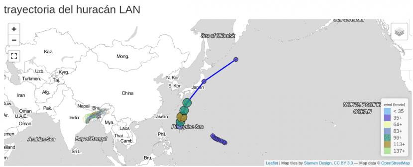 Trayectoria del tifón Lan