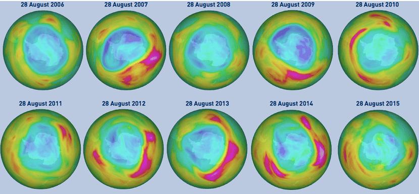 evolucion de capa de ozono