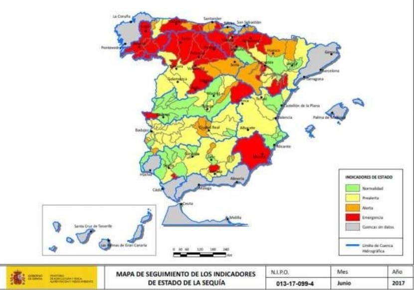 Mapa del estado de la sequía en España