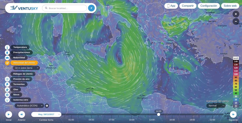 Medicane cerca de Sicília y Grecia