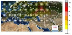Liberación de Rutenio 106 en Europa, mapa del IRSN
