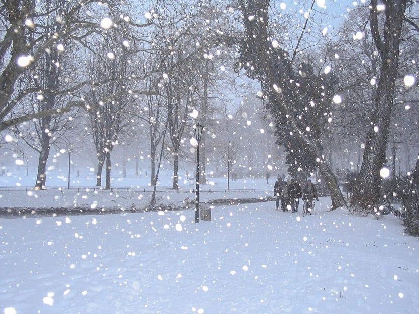 Nieve cayendo