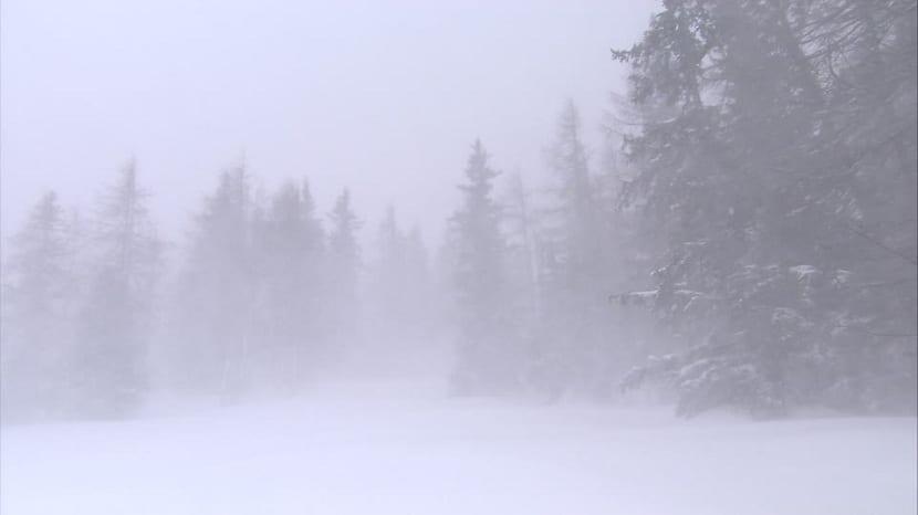 Ventiscas en la montaña