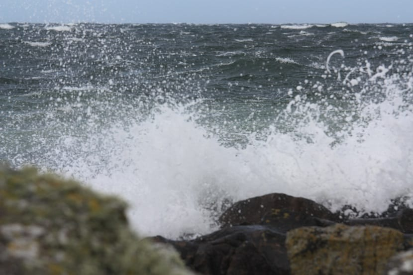 olas rompiendo en la costa