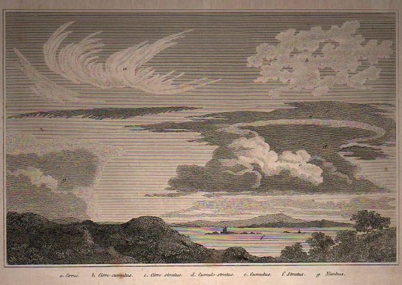 Grabado que representa la clasificación de nubes hecha por Luke Howard