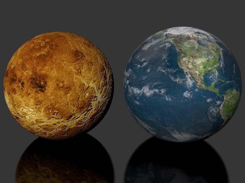 Comparación entre Venus y la Tierra