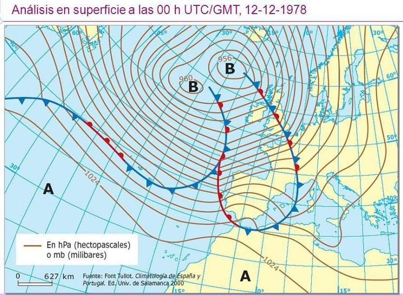 Situación ciclónica con advección