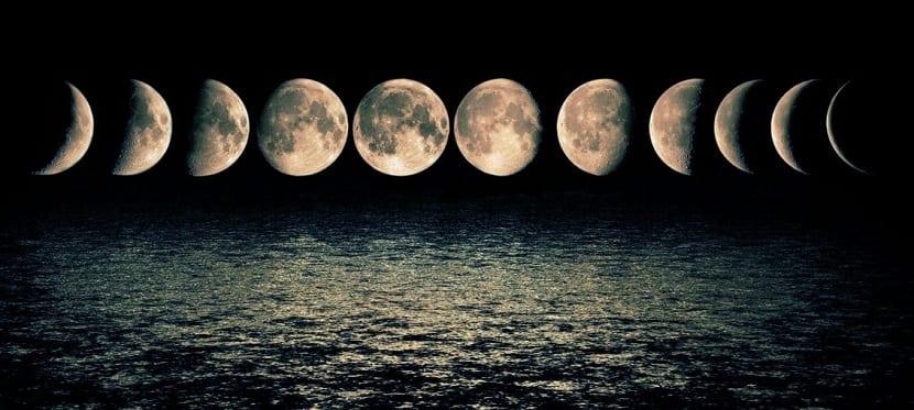 distintas fases de la luna