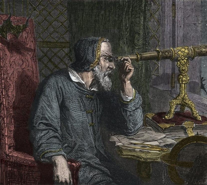 Galileo con el telescopio