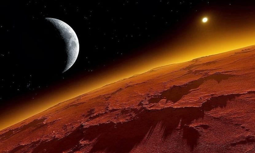 Lunas de marte desde el planeta