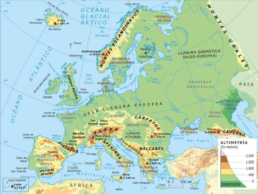 orografia europa