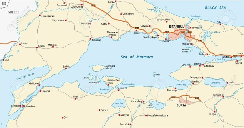 Ubicación del mar de mármara