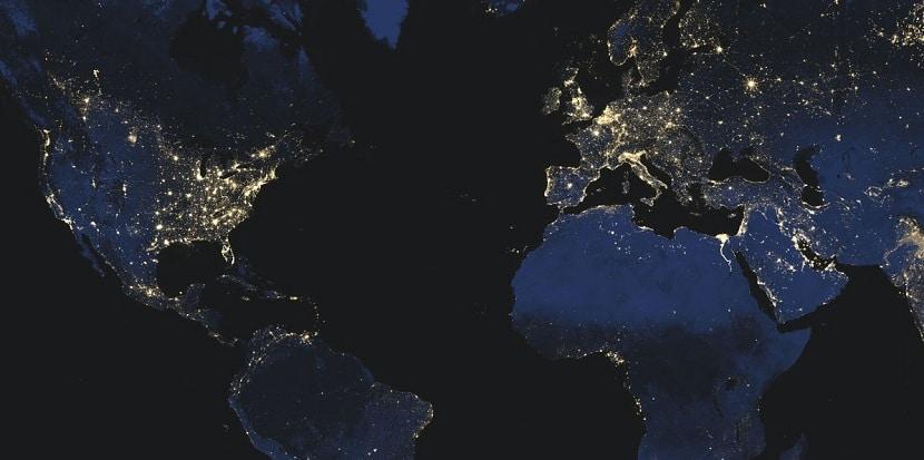 Contaminación lumínica en todo el mundo