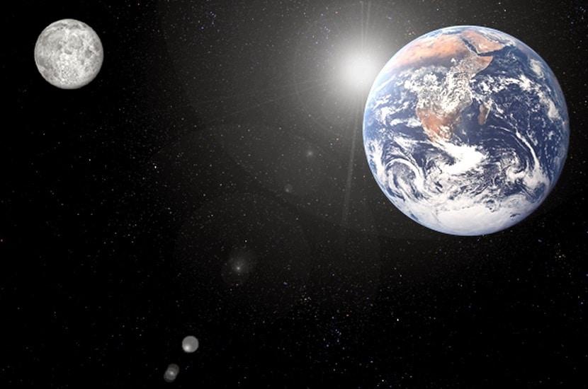 Escala de la distancia de la Tierra a la luna
