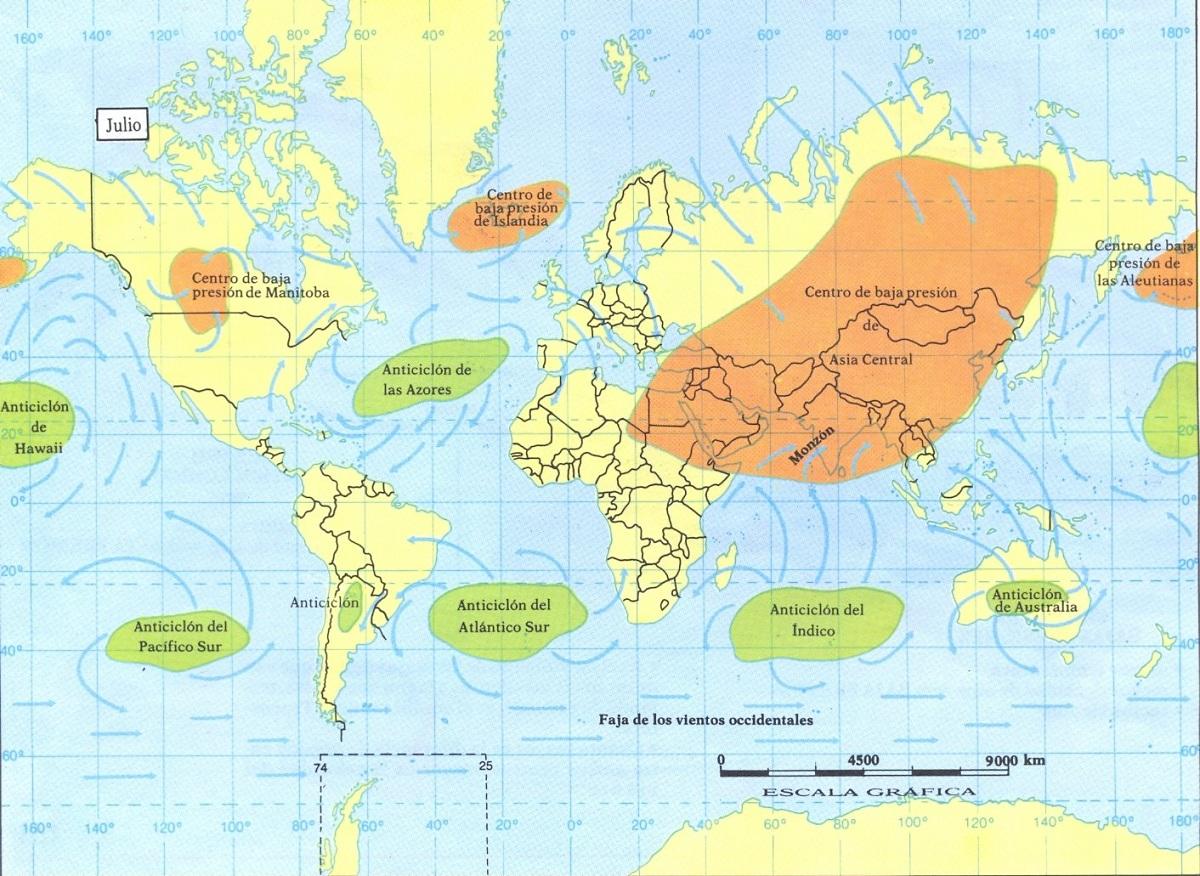 Zonas que afectan los monzones