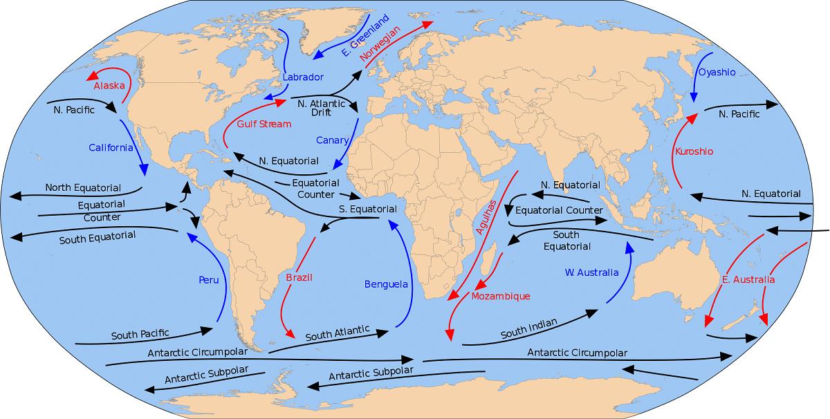 Corrientes oceanicas de todo el mundo