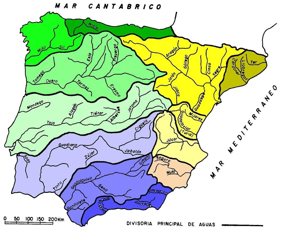 distribucion de las cuencas hidrograficas de España