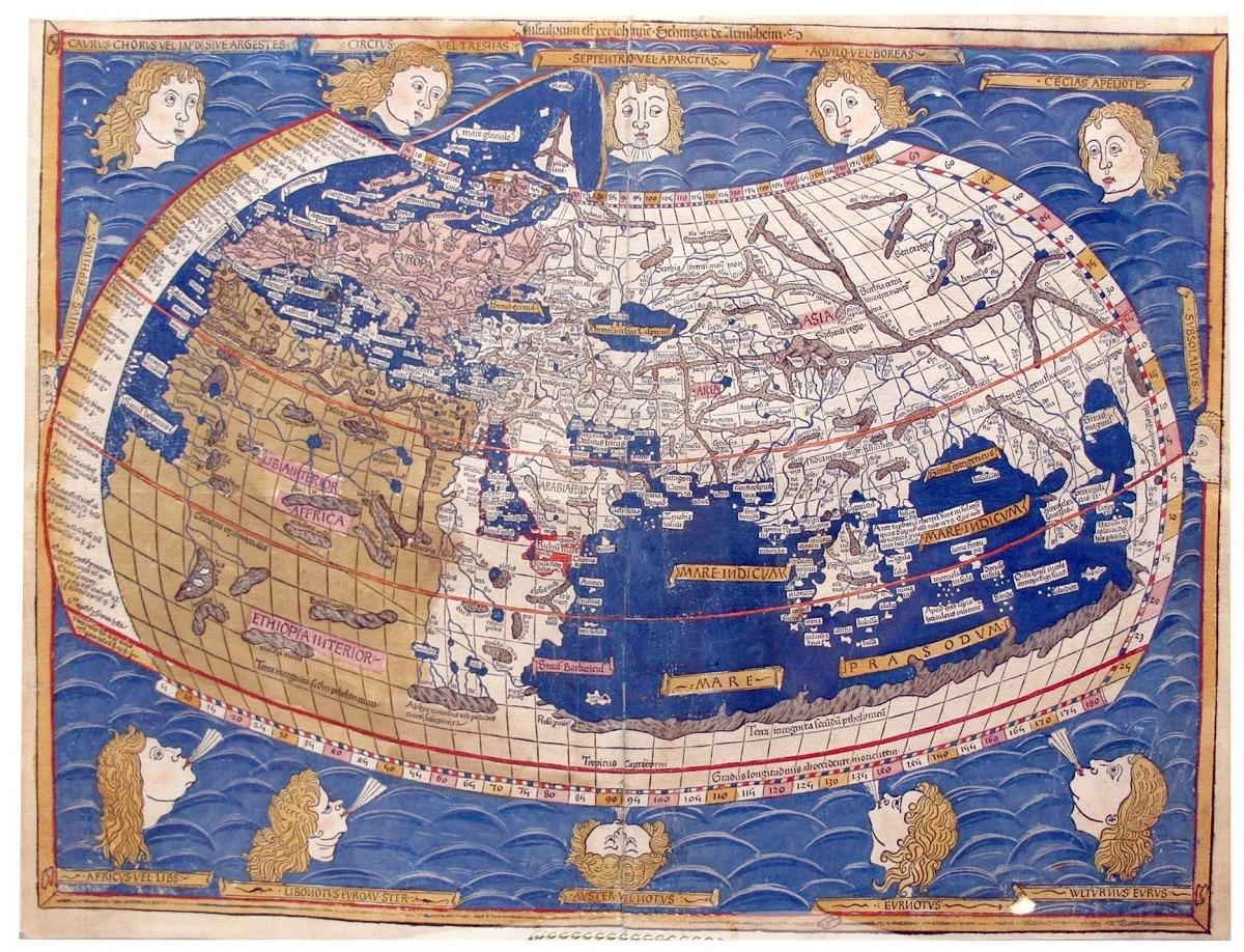 mapa del mundo por claudio ptolomeo