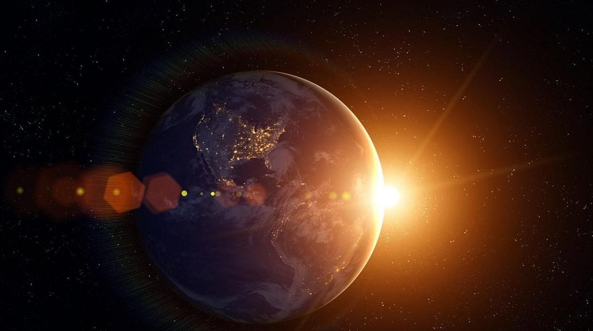 tierra orbitando sobre el sol