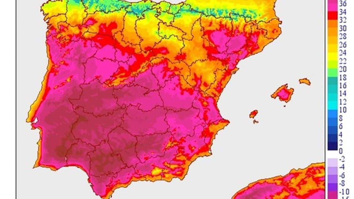 Provincias y temperaturas por la ola de calor