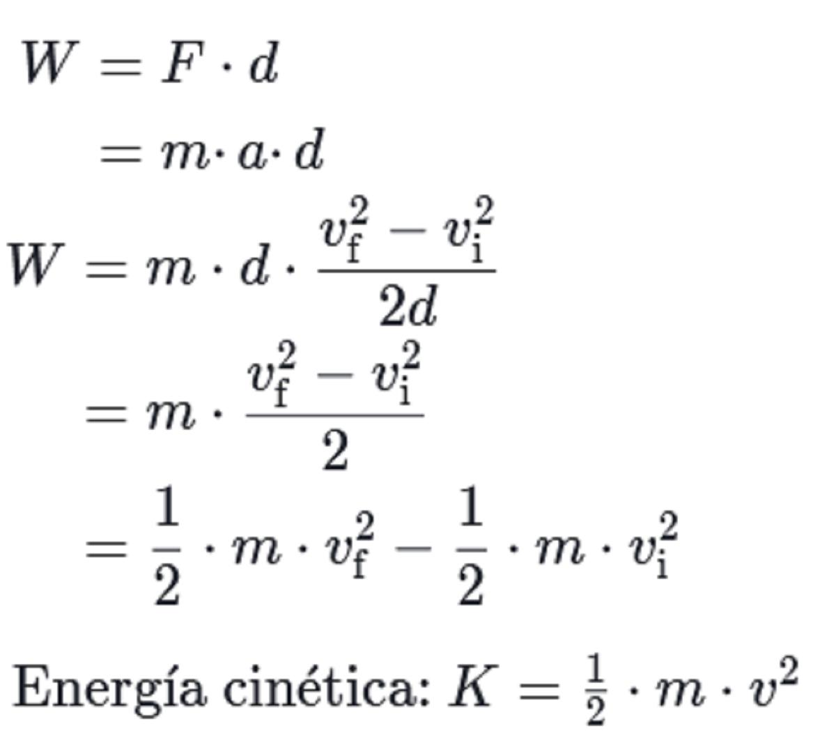 Fórmula energía cinética