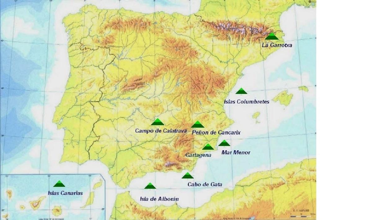 volcanes en españa mapa